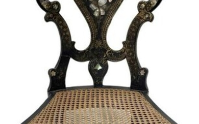Victorian papier -mach chair, with gilded decorations