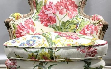 Vintage Wooden Upholstered Childrens Bergere Chair