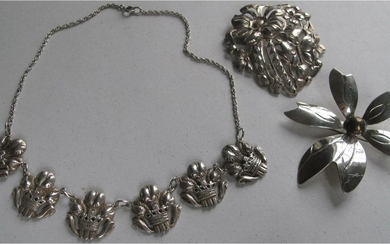 Vintage sterling silver necklace along with two brooches Early to mid 20thc FR3SH