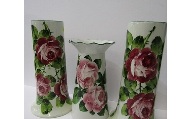 """WEMYSS, pair of rose decorated 10"""" tapering cylindrical vase..."""
