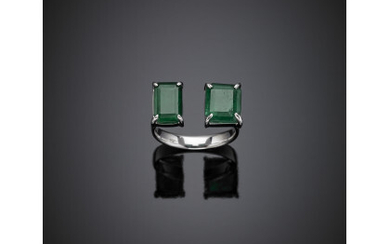 White gold two step cut emerald brisé ring, in all...