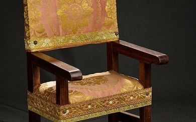 Wooden Framed Arm Chair with Silk Brocade Upholstery