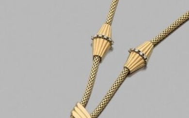 Yellow gold necklace 750 thousandths cylindrical and braided...