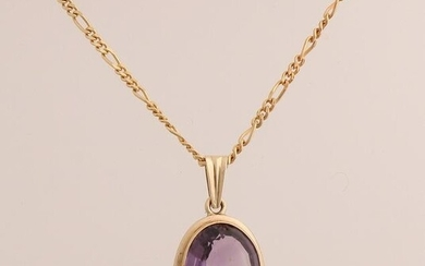 Yellow gold necklace and pendant, 585/000, with