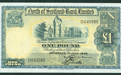 £1 dated 1-7-1945 series D, Pick S644a, Webster signature, f...