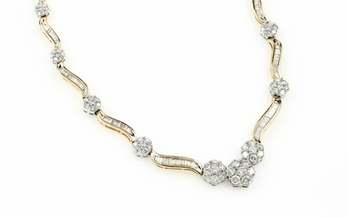 14 kt gold necklace with diamonds ,...