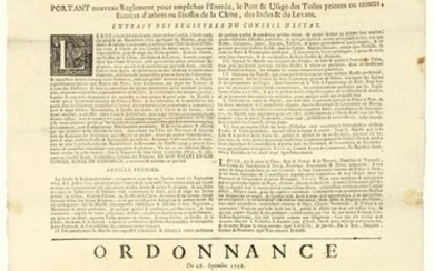"""1736. LANGUEDOC. STORMS of CHINA, INDIA & THE LEVANT. """"Arrest of the Council of State of the KING, of April 10, 1736, carrying new Regulation to prevent the Entry, the Port & Use of Painted Canvas, Tree Bark or Fabrics of China, India & the Levant""""..."""
