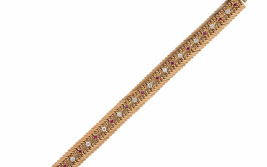 18kt Gold, Ruby, and Diamond Bracelet, Gubelin