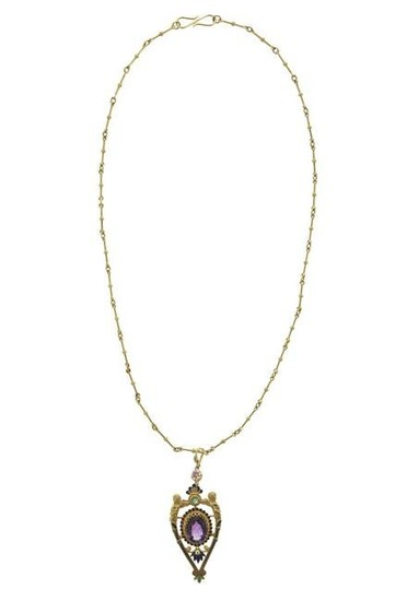 18kt yellow gold, amethyst and enamel necklace