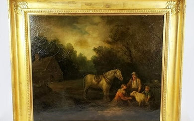 "18th C. George Morland Signed Oil on Canvas ""Farm"
