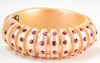 1960s Pink Pearlescent Acrylic Clamper Bracelet