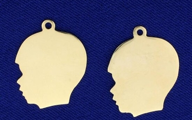 2 Boy Silhouette Pendants or Charms in 14K Yellow Gold