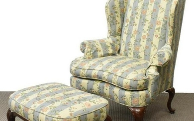 (2) QUEEN ANNE STYLE WINGBACK ARMCHAIR & STOOL