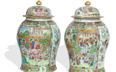 A pair of large famille rose Canton export temple jars with covers