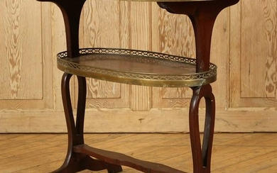 FRENCH MAHOGANY MARBLE TOP OCCASIONAL TABLE C1950