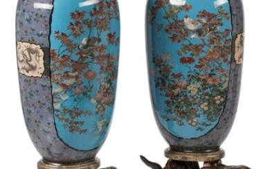 61060: A Pair of Japanese Cloisonné Vases on Fig
