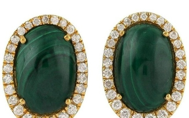 7.6 Carat Malachite Diamond 18 Karat Yellow Gold Stud