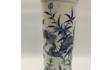 A 19c Chinese cylindrical vase decorated blue on white with ...
