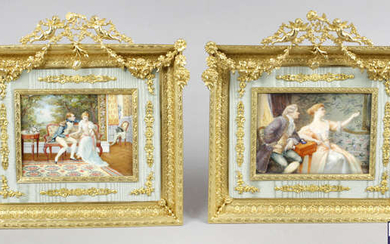 A 19th century painted portrait miniature upon ivory panel, together with another similar example.