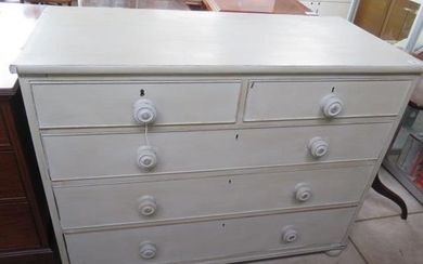A 19th century pine chest of five drawers, painted in a chal...