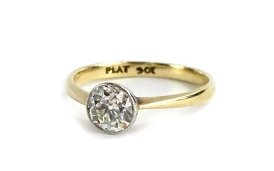 A 9ct gold and platinum diamond solitaire ring, set...