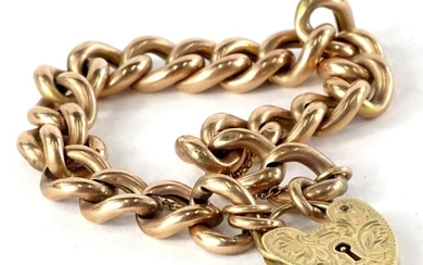 A 9ct gold rose gold charm bracelet, with heart shaped padlo...