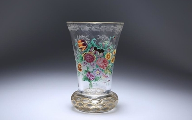 A BOHEMIAN ENAMEL-PAINTED AND CUT-GLASS BEAKER, LATE