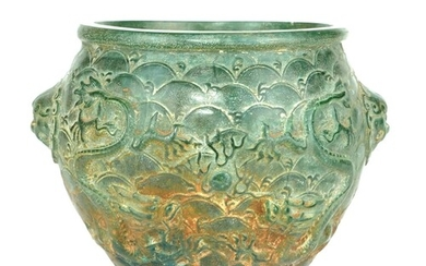 A CHINESE CARVED JADE DRAGON BOWL Raised decoration of oppos...