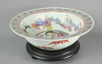 A Chinese Famile Rose bowl, the interior painted with...