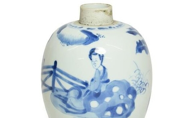 A Chinese Porcelain Jar, Kangxi, of ovoid form, painted in...