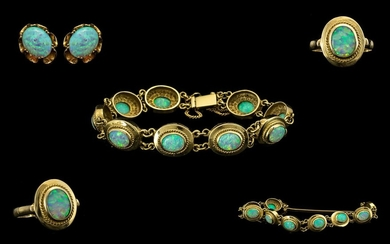 A Continental Suite Of 14ct Gold Opal Set Jewellery To Inclu...