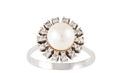 A DIAMOND AND PEARL CLUSTER RING, the pearl to a three rowed...