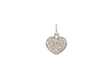 A DIAMOND PENDANT, in the form of a heart, pavé set with bri...