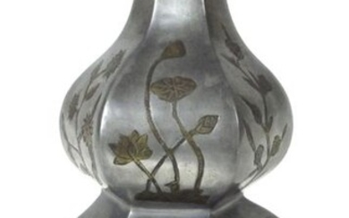 A DOUBLE-GOURD-SHAPED PEWTER VASE DECORATED WITH LOTUS VINES,...