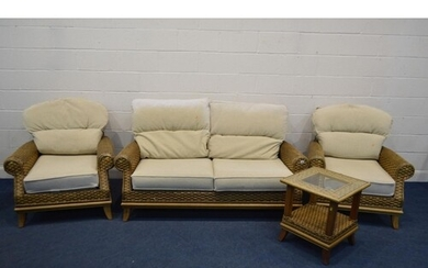 A FOUR PIECE CONSERVATORY SUITE, cream cushions, comprising ...