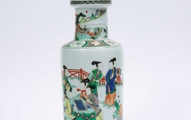 A Famille Verte 'Lady and Child' Rouleau Vase, Kangxi