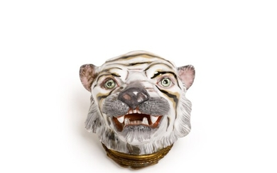 A French bonbonnière in the form of a tiger's head, 19th century, probably Samson