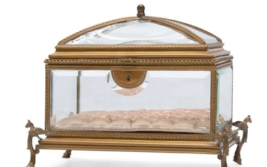A French gilt bronze and glass table casket
