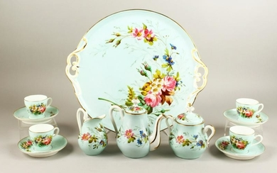 A GOOD FRENCH PORCELAIN CABARET comprising tray,