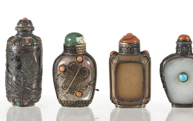 A GROUP OF SIX SILVER AND SILVER-MOUNTED SNUFF BOTTLES, China/Mongolia, 19th/early 20th ct. - h. 4,5-8 cm