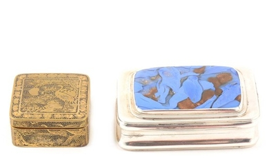 A George III silver gilt snuff box, possibly Mattew Linwood, London 1810 together with a gilt bronze and black enamelled stamp box