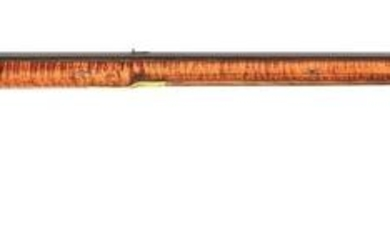 (A) INCISE CARVED FLINTLOCK KENTUCKY RIFLE, SIGNED S.