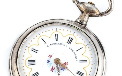 A LADYS SILVER OPEN FACE POCKET WATCH; white dial, Roman numerals, key wind and set, case diam. 33mm, not working.