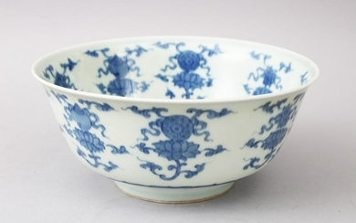 A LARGE CHINESE BLUE & WHITE PORCELAIN BOWL, the body