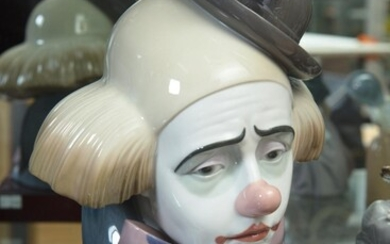 A LLADRO CLOWN BUST ON STAND