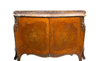 A Louis XV Style Marble Top Marquetry Commode