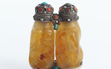 A MONGOLIAN SILVER AND HARDSTONE DOUBLE SNUFF BOTTLE CIRCA 19TH CENTURY