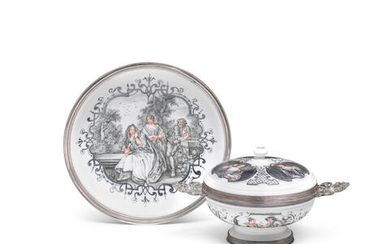 A Meissen silver-mounted Hausmaler ecuelle, cover and stand, circa 1720, the decoration circa 1735