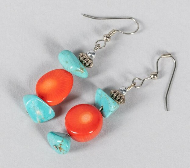 A Pair Of Turquoise Coral Like Drop Earrings
