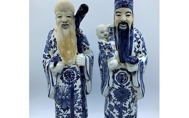 A Pair of Chinese Ceramic Figures Blue and White Glazed 32.5...